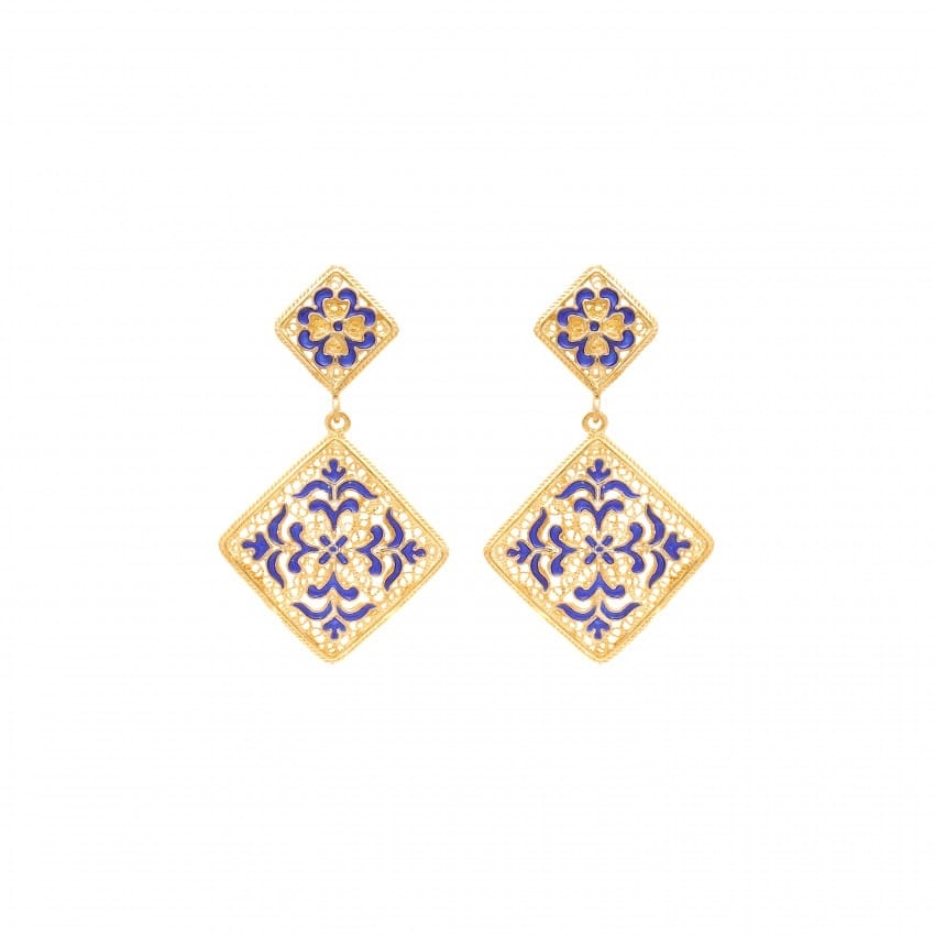 Earrings Azulejo in Gold Plated Silver