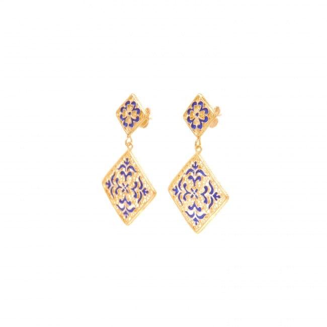 Earrings Azulejo in Gold Plated Silver