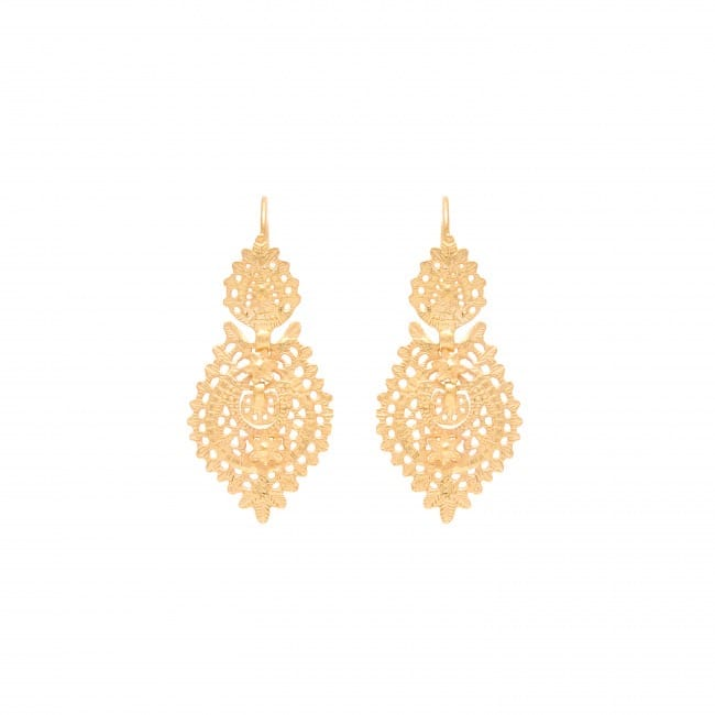Queen Earrings 4,0cm in Gold Plated Silver