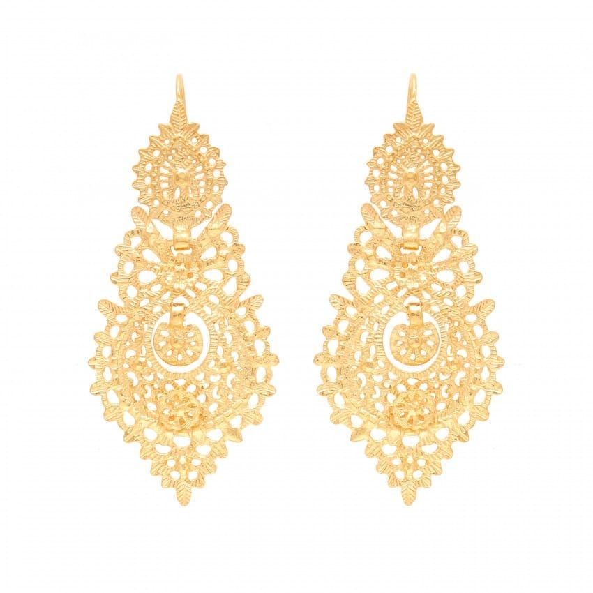 Queen Earrings 6,5cm in Gold Plated Silver