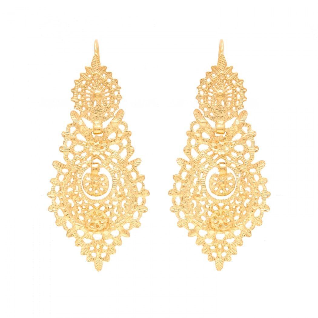 Brincos à Rainha 6,5cm em Prata Dourada