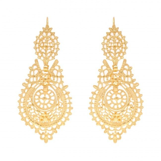 Queen Earrings 7,0cm in Golden Plated Silver
