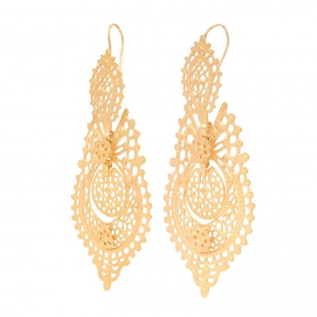 Queen Earrings 8,5cm in Gold Plated Silver