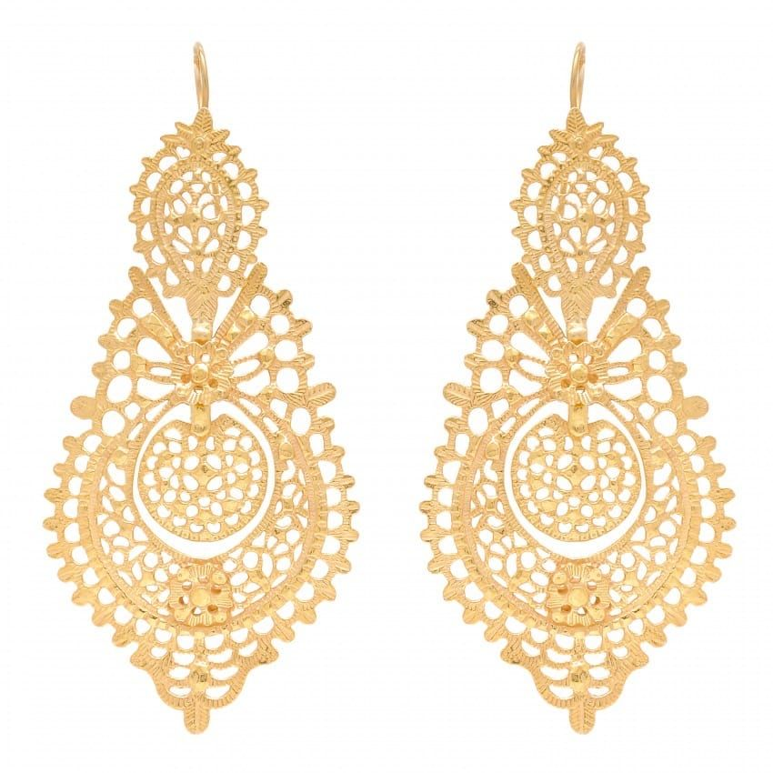Queen Earrings XL in Gold Plated Silver