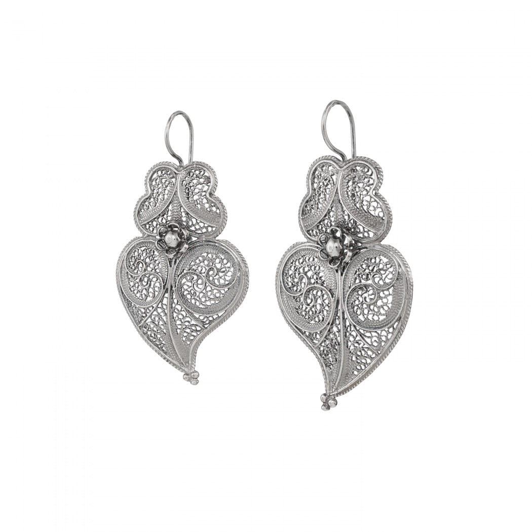 Brincos Coração de Viana 4,5 cm em Prata