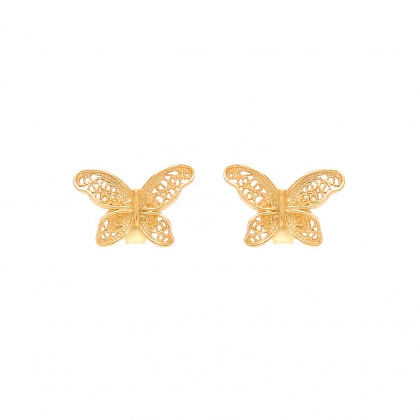 Earrings Butterfly in Gold Plated Silver