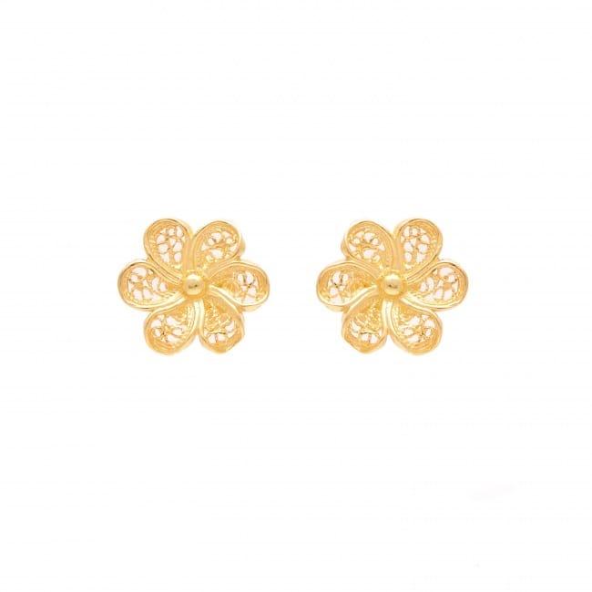 Brincos Flor em Prata Dourada