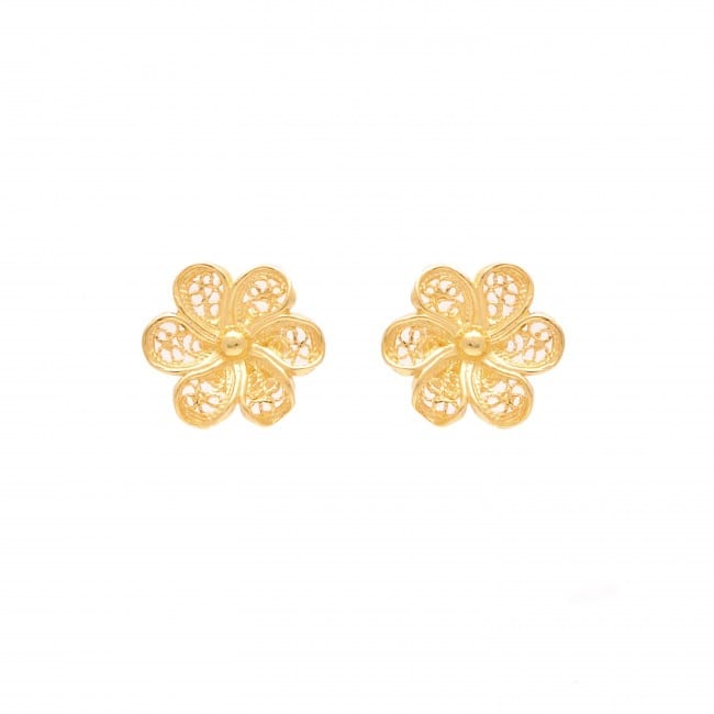Earrings Flower in Gold Plated Silver