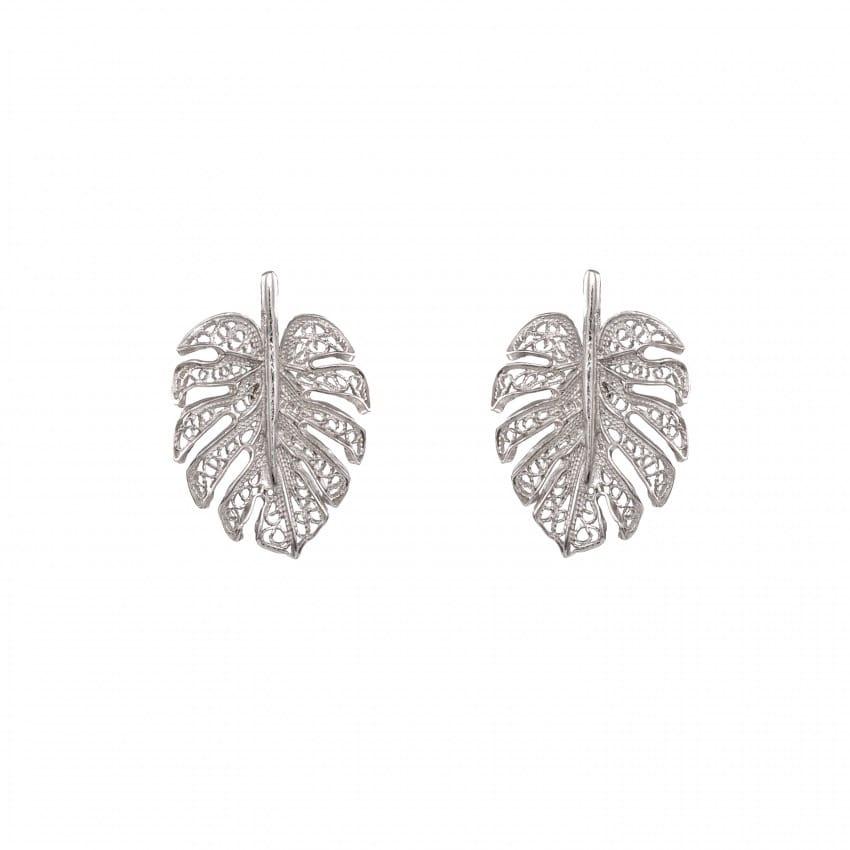 Earrings Monstera in Silver