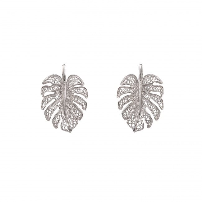 Earrings Monstera in Silver