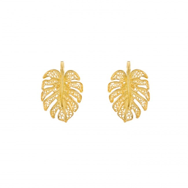 Earrings Monstera in Gold Plated Silver
