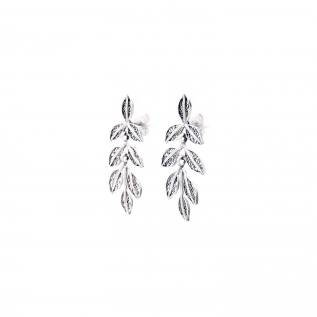 Earrings Leaves in Silver