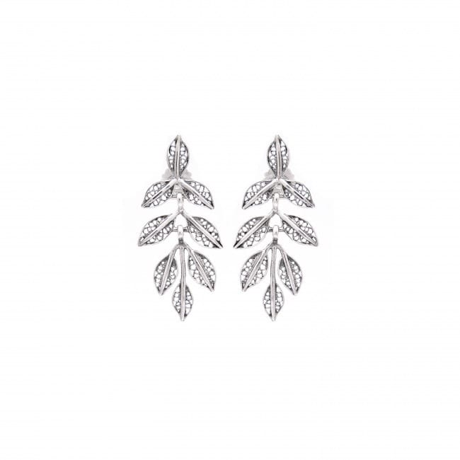 Earrings Leaves in Silver