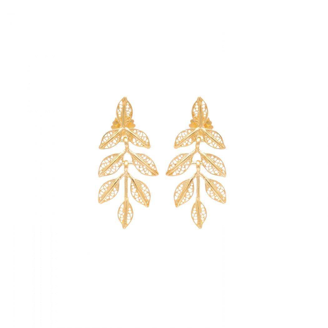 Brincos Folhas em Prata Dourada