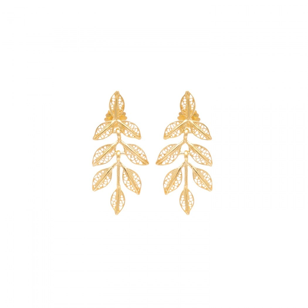 Earrings Leaves in Gold Plated Silver