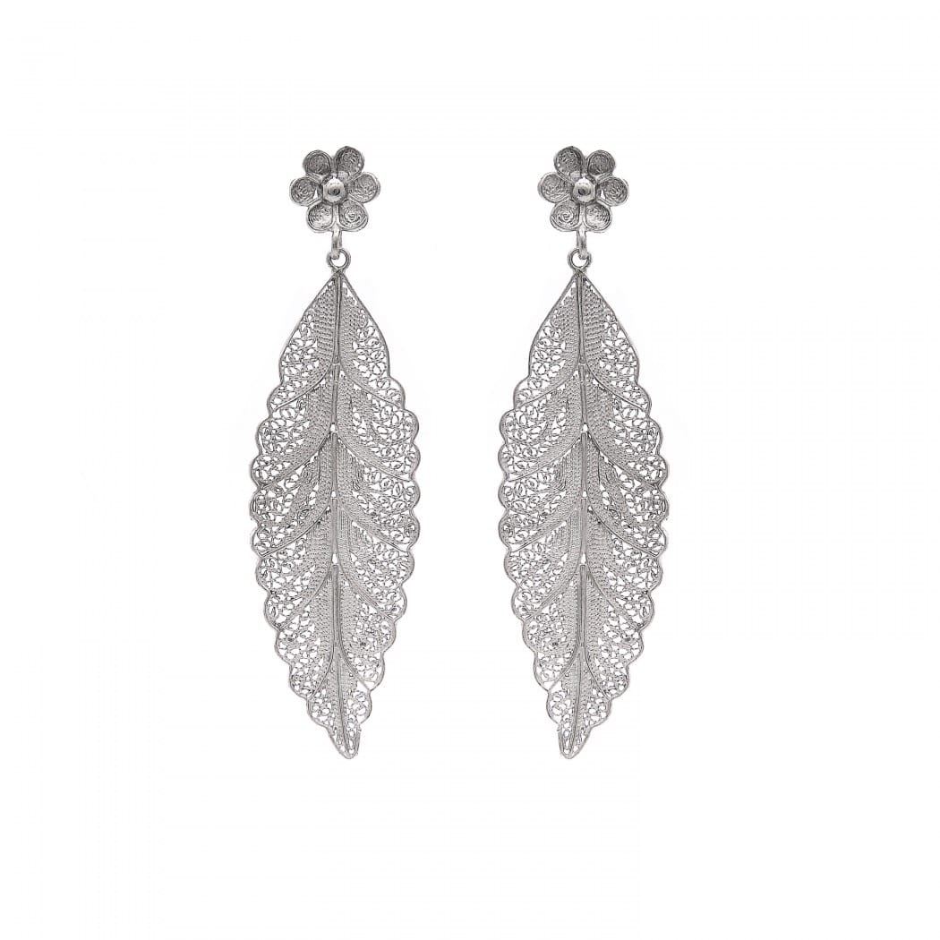 Earrings Leaf in Silver