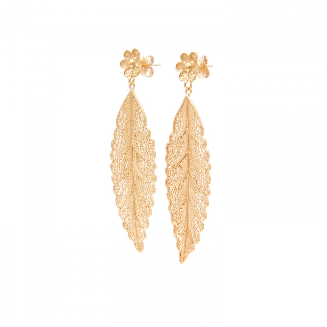 Earrings Leaf in Gold Plated Silver