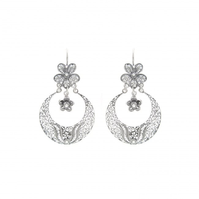 Earrings Arrecadas Flower in Silver