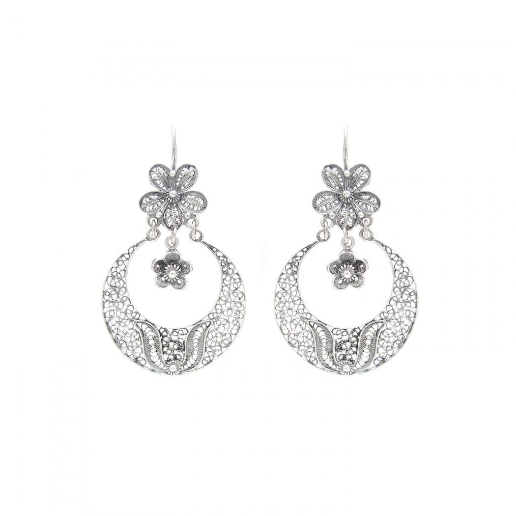 Earrings Arrecadas Flower in Silver