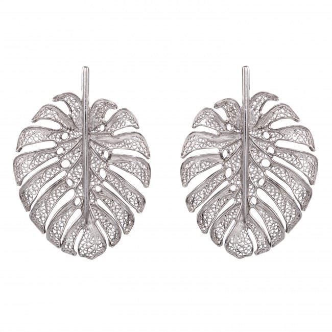 Earrings Monstera XL in Silver