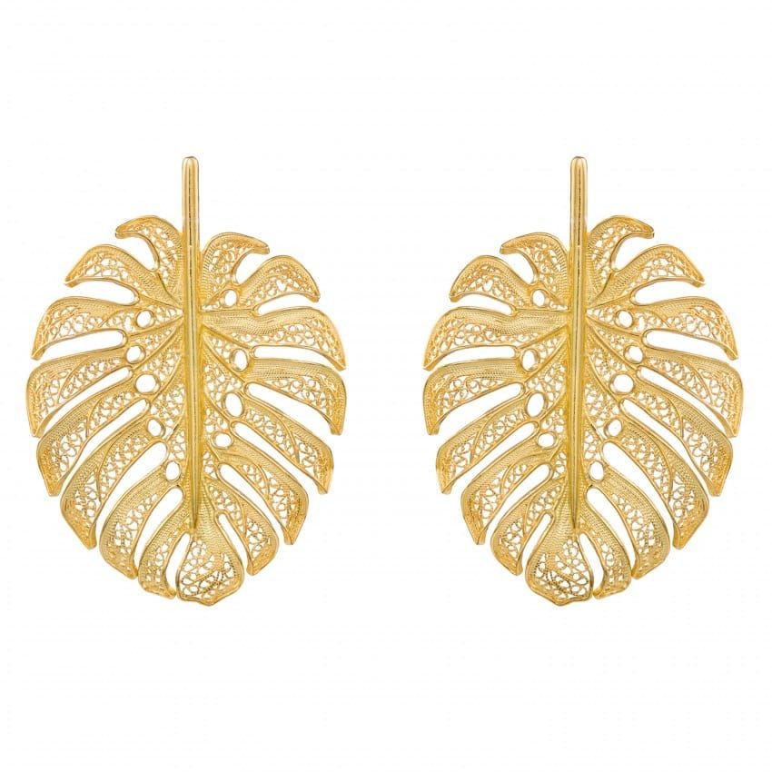 Earrings Monstera XL in Gold Plated Silver