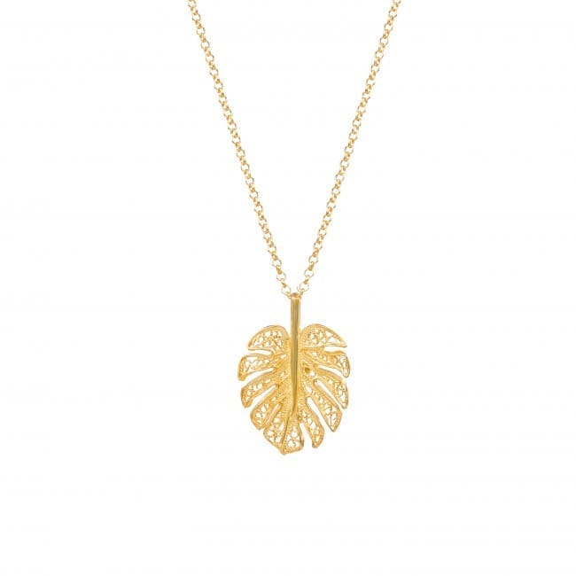 Necklace Monstera in Gold Plated Silver