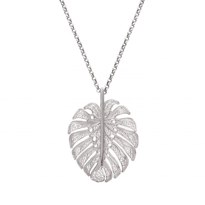 Necklace Monstera XL in Silver