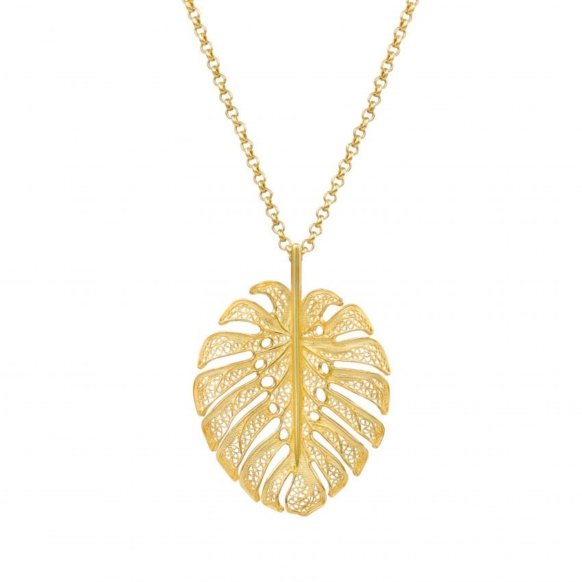 Necklace Monstera XL in Gold Plated Silver