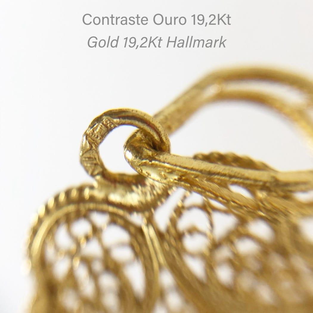 Colar Coração de Viana em Ouro 19,2Kt e Diamante