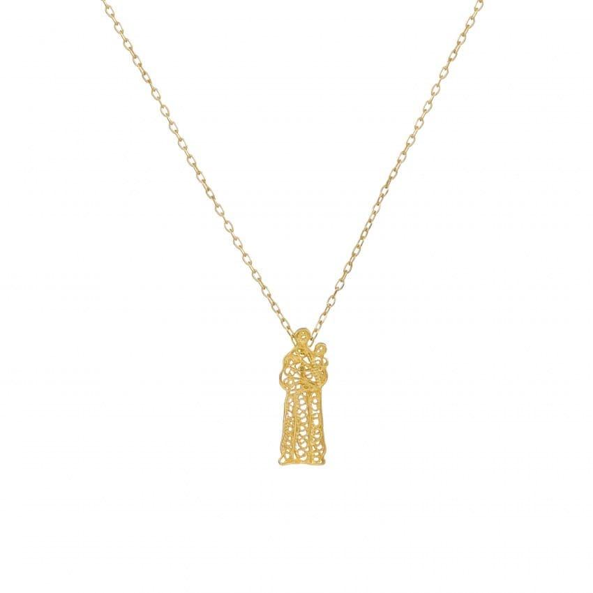 Colar Santo António em Prata Dourada