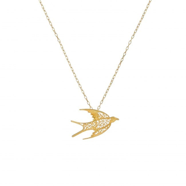 Necklace Swallow in Gold Plated Silver