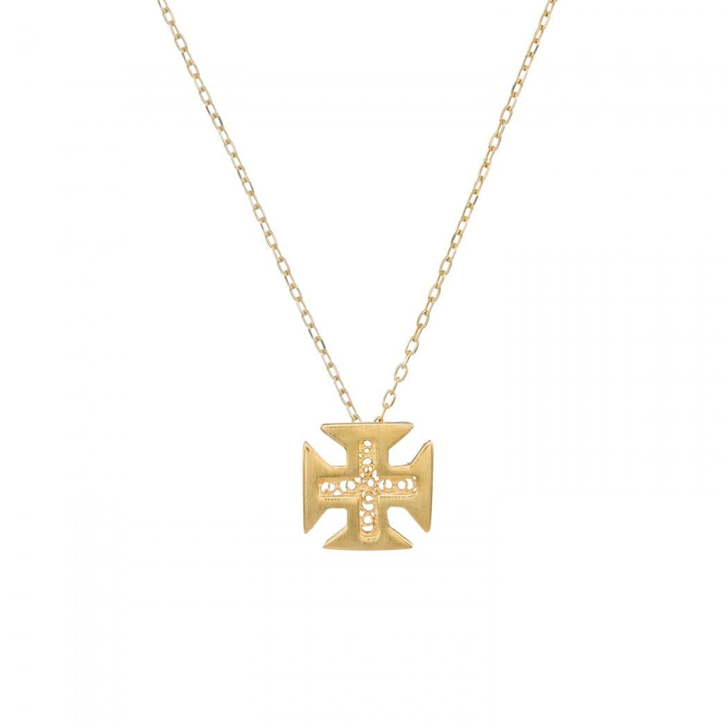 Colar Cruz de Cristo em Prata Dourada