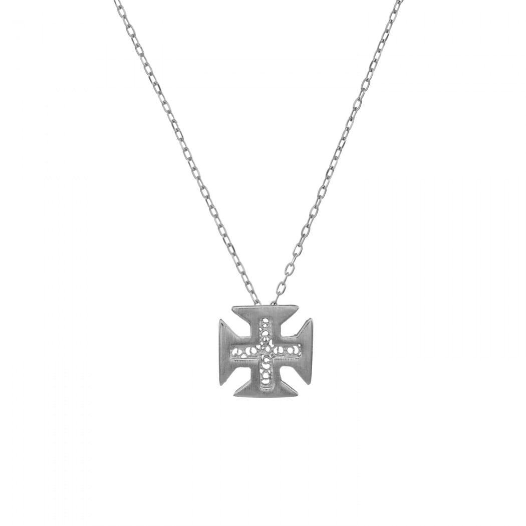Colar Cruz de Cristo em Prata