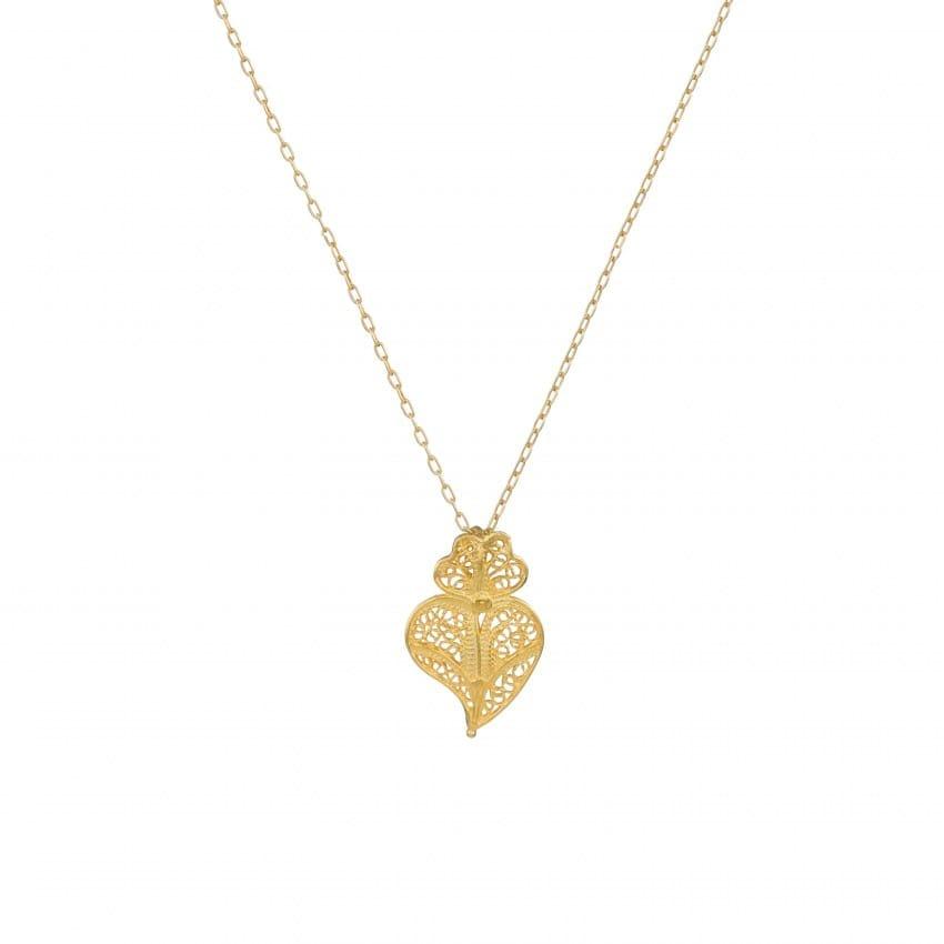Colar Coração de Viana em Prata Dourada