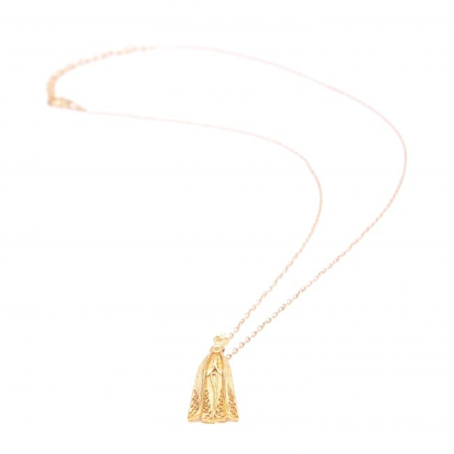 Necklace Our Lady of Fátima in Gold Plated Silver