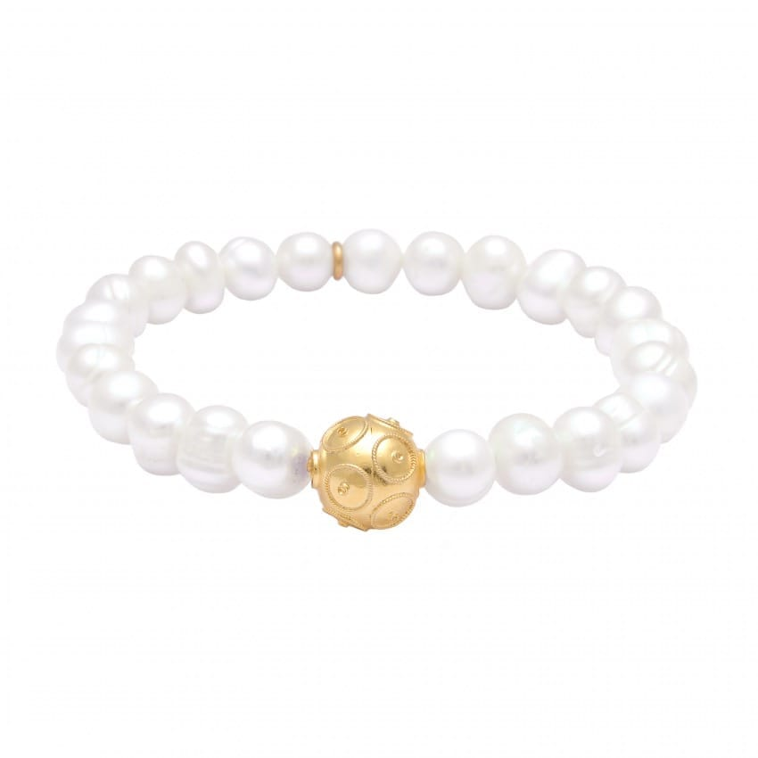 Bracelet Conta in Gold Plated Silver and Pearls