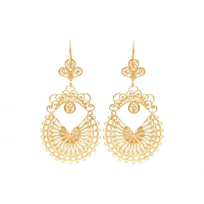 Earrings Arrecadas 5,0cm in Gold Plated Silver