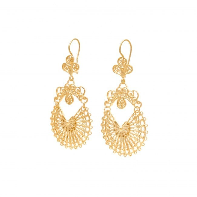 Earrings Arrecadas 5,0cm in Gold Plated Silver