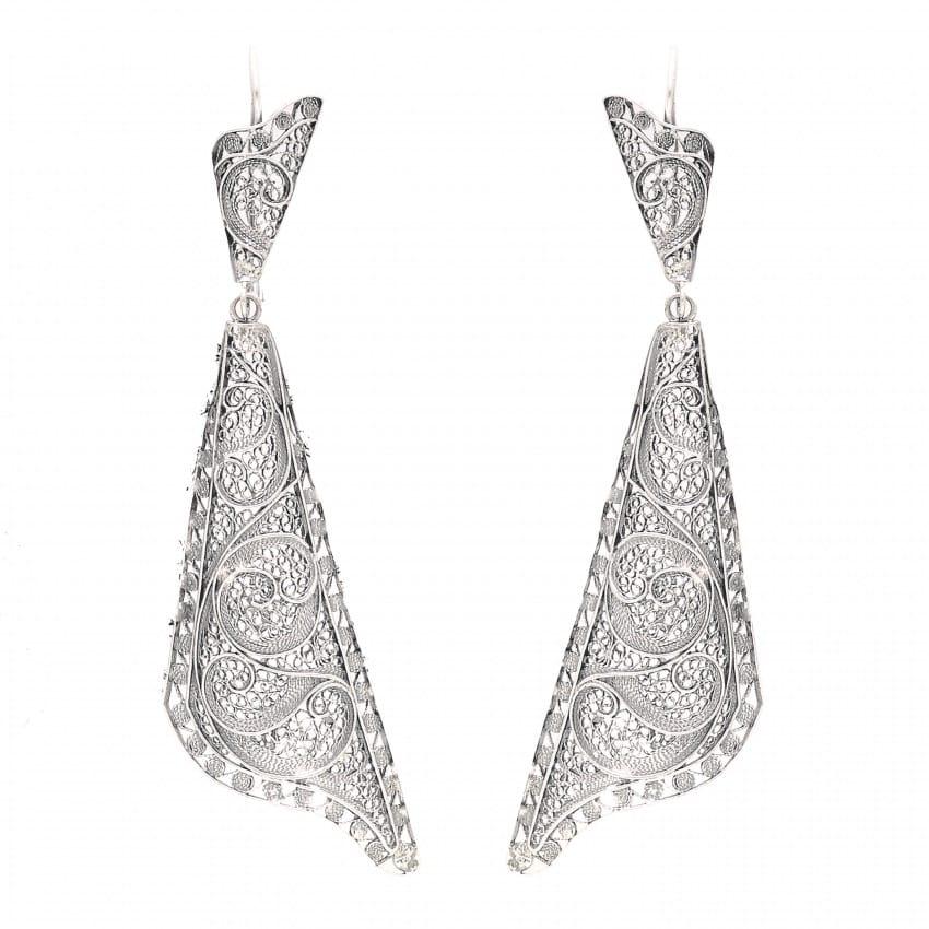 Earrings Fado Singer's Shawl in Silver