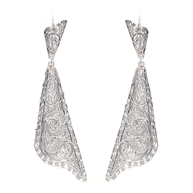 Earrings Fado Singer's Shawl in Silver