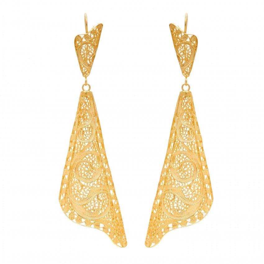 Earrings Fado Singer's Shawl in Gold Plated Silver