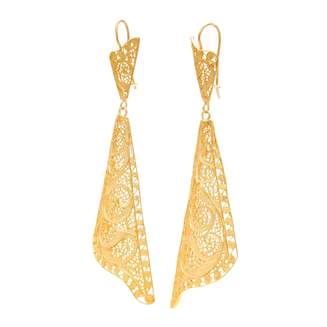 Earrings Fado Singer's Shawl in Gold Plated Silver