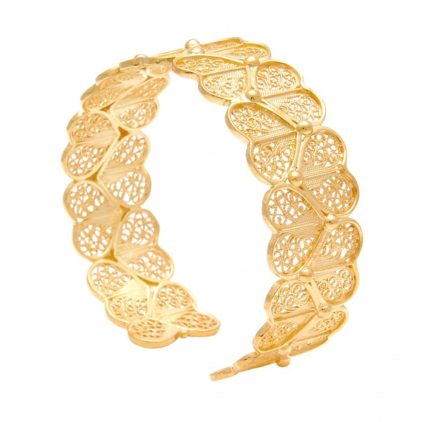 Bracelet Hearts in Gold Plated Silver