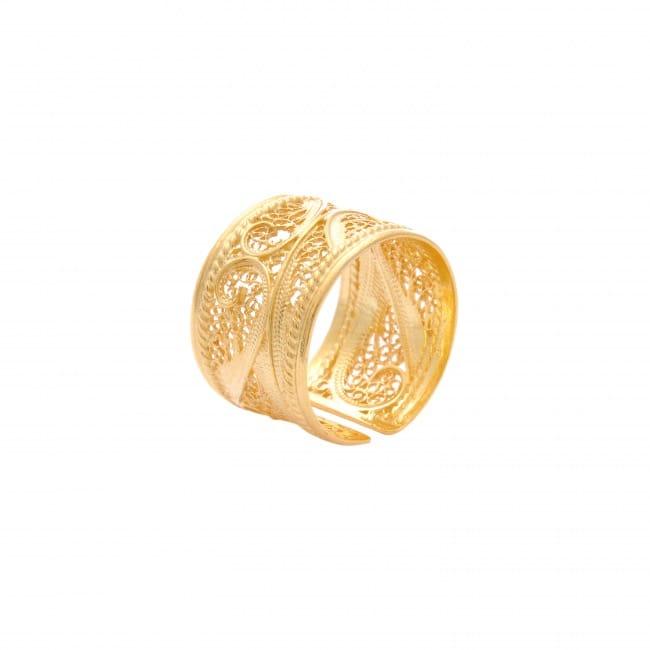 Anel Filigrana em Prata Dourada