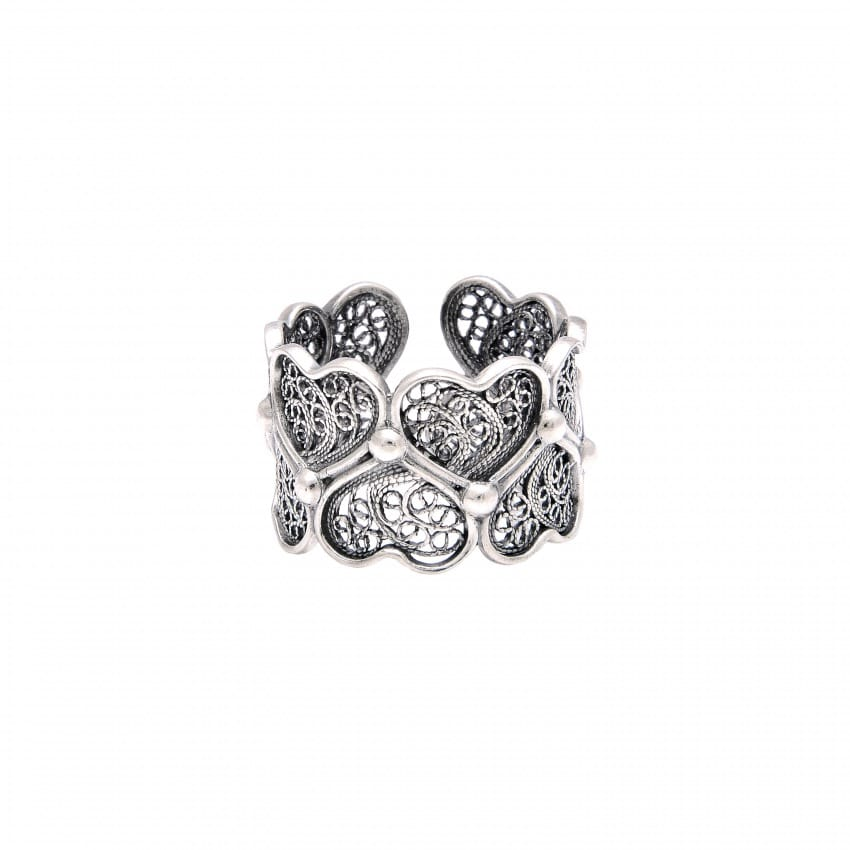Ring Hearts in Silver