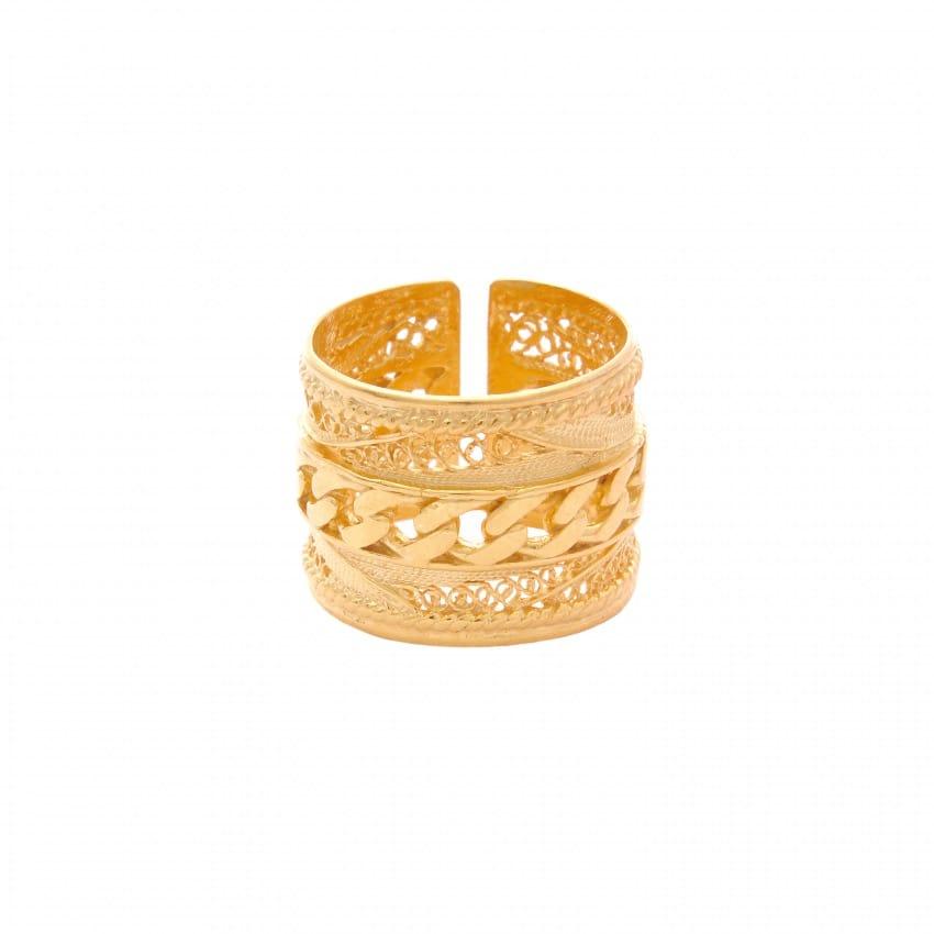 Anel com Barbela em Prata Dourada