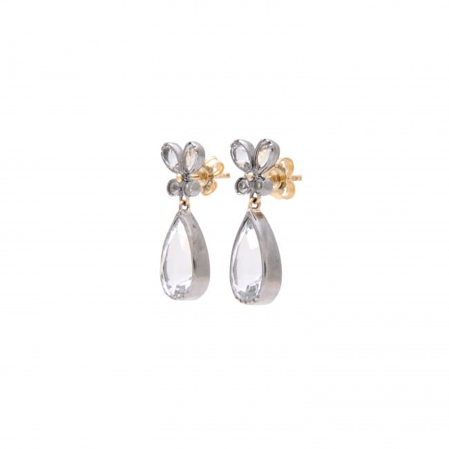 Earrings Butterfly Rock Crystal in Silver and Gold