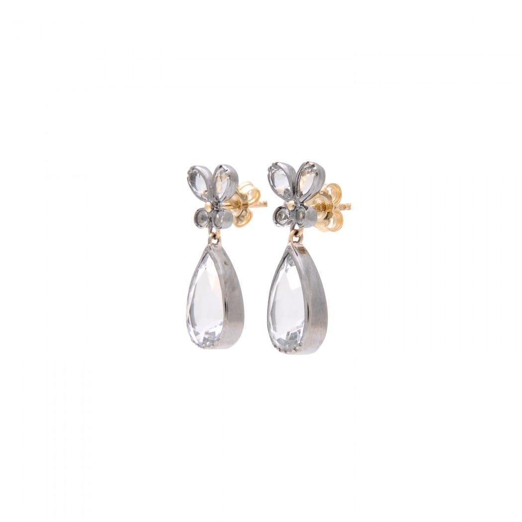 Brincos Borboleta Cristal de Rocha em Prata e Ouro