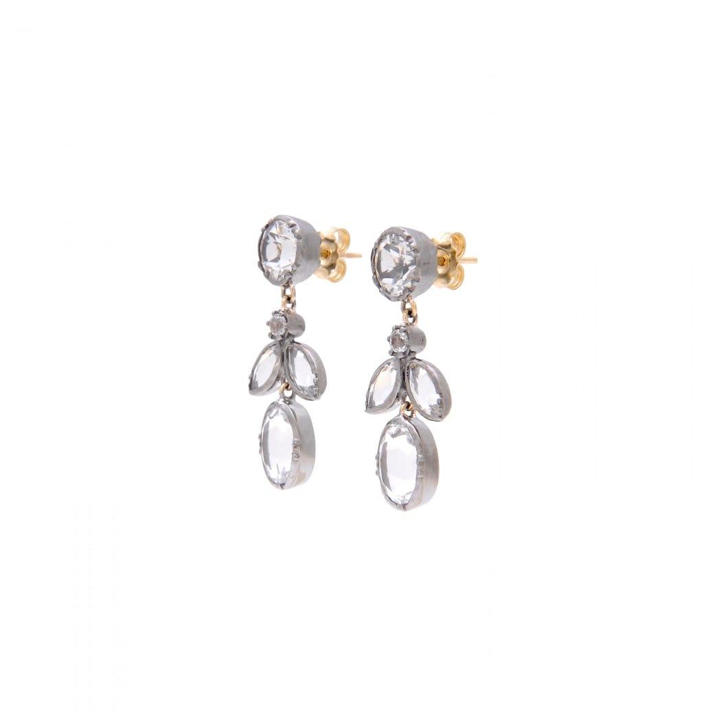 Brincos Folhas Cristal de Rocha em Prata e Ouro
