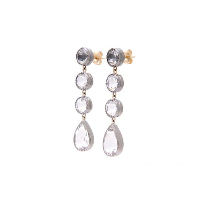 Brincos Círculos Cristal de Rocha em Prata e Ouro